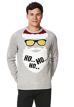 F&F Ho Ho Ho Santa Claus Christmas Jumper - Light grey