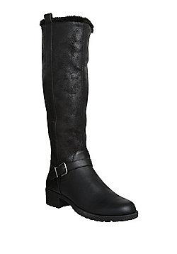 F&F Faux Fur Trim Knee High Biker Boots - Black