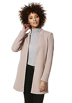 Only Melange Finish Open Front Boyfriend Coat - Pink