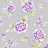 Fresco Chinese Blossom Grey/Purple Wallpaper