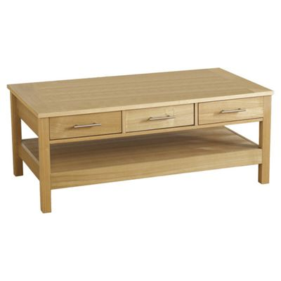 Home Essence Alexander Three Drawer Coffee Table in Natural Oak Veneer