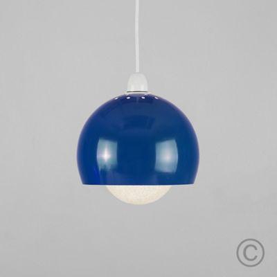 MiniSun Arco Metal LED Ceiling Pendant Shade Blue & Sparkle Globe Bulb
