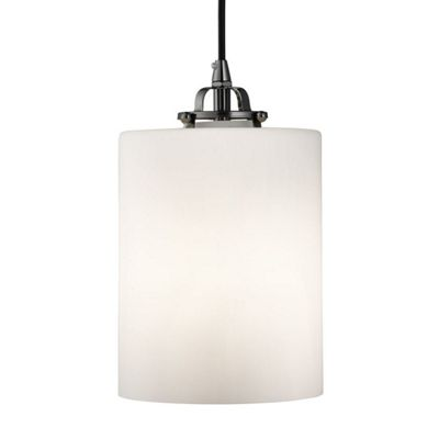 OPAL 1 LIGHT CYLINDER PENDANT BLACK CHROME, OPAL WHITE GLASS SHADE