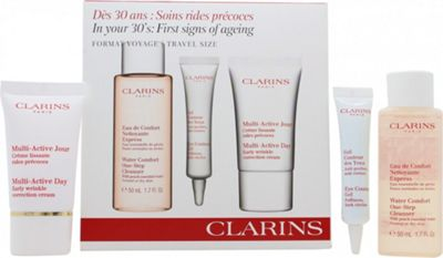 Clarins In Your 30's First Signs Of Aging Gift Set 50ml Water Comfort One-Step Cleanser + 10ml Eye Contour Gel + 15ml Multi-Active Day Wrinkle Cream