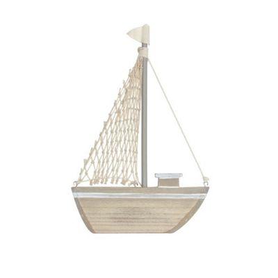 Natural Wood Sail Boat Ornament