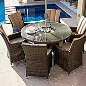 Maze Rattan - LA Ice Bucket 6 Seat Set - 1.35m Round - Brown