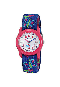 Timex T89001 Indiglo Kids Childrens Butterflies & Hearts Watch│Washable Strap│