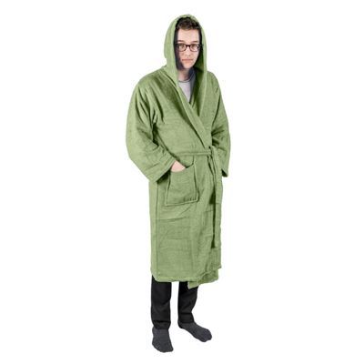 Homescapes Green 100% Combed Egyptian Cotton Hooded Adults Unisex Bathrobe, Small/Medium