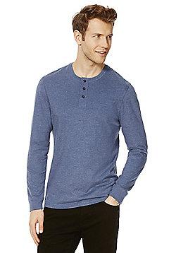 F&F Marl Long Sleeve Grandad T-Shirt - Denim marl