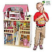 Raspberry Residence Wooden Dolls House + 17 Pieces of Furniture
