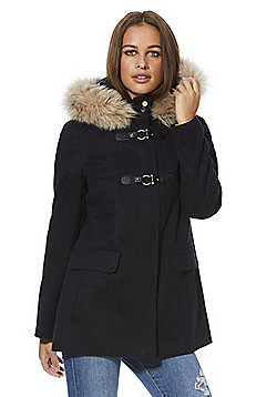 F&F Faux Fur Trim Hooded Duffle Coat - Navy