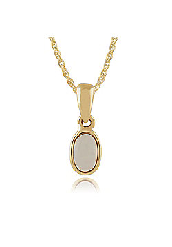Gemondo 9ct Yellow Gold Framed Oval 0.15ct Opal Pendant on 45cm Chain