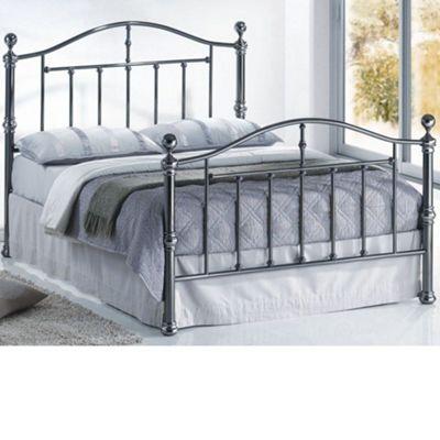 Happy Beds Victoria Metal High Foot End Bed - Nickel - 5ft King