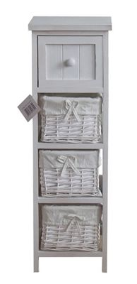4-Tier Martinique Wood Frame Wicker Drawer Storage Unit-White