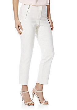 F&F Ankle Grazer Mid Rise Slim Leg Trousers - Cream
