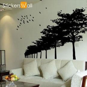 Birds and Forest Wall Sticker, Black