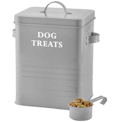 Andrew James Vintage Dog Treat Storage Tin with Lid and Scoop - 2.5kg Capacity Retro Grey