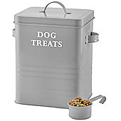Andrew James Vintage Dog Treat Storage Tin with Lid and Scoop - 2.5kg Capacity Retro Grey