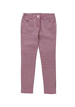 F&F Biker Seam Twill Trousers - Mauve