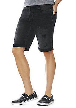 F&F Distressed Denim Shorts - Washed black