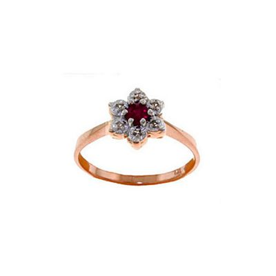 QP Jewellers Ruby & SI-2 Diamond Ontario Wildflower Ring in 14K Rose Gold - Size F 1/2