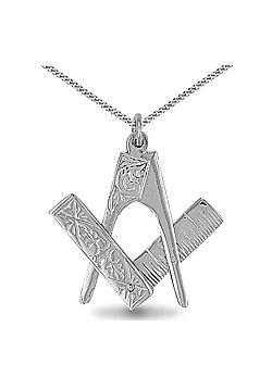 Jewelco London Sterling Silver Scissor pendant Masonic Pendant - 18 inch Chain
