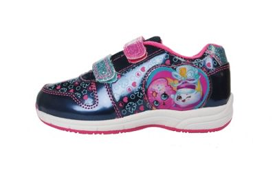 Girls Shopkins Navy & Pink Canvas Trainers Sport Shoes Hook & Loop UK Size 7