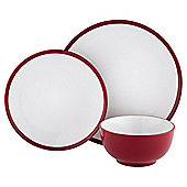 Two Tone Red Stoneware 12 Piece Dinner Set