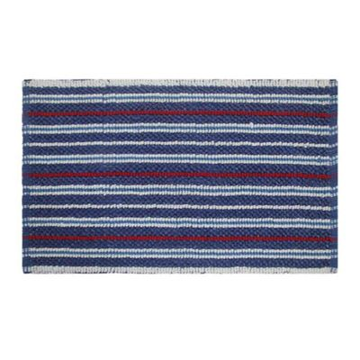 Homescapes Cotton Chenille Handloomed Striped Blue Red Bath Mat 50 x 80cm