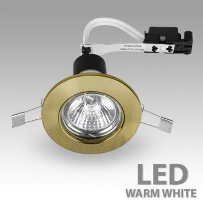 Recessed LED GU10 Downlight, Antique Brass & Warm White GU10 Bulb