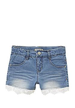 Name It Lace Trim Denim Shorts - Blue