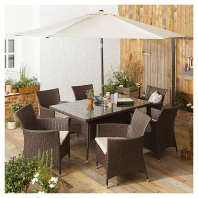Tesco Corsica 8 Piece Rattan Rectangular Garden Dining Set Brown