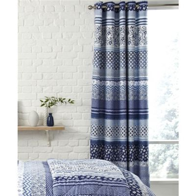 Catherine Lansfield Santorini Blue 66x72 Inch Eyelet Curtains