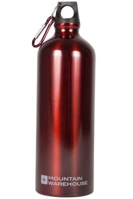 Mountain Warehouse 1L Metallic Drinking Drinks Water Bottle Flask + Carabiner