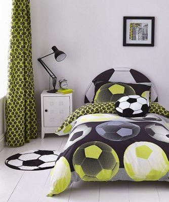 Catherine Lansfield Kids Neon Yellow Football Cotton Rich Duvet Set - Double