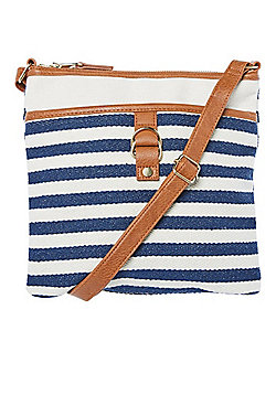 F&F Striped Canvas Cross-Body Bag Navy/Multi One Size