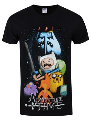Adventure Time Movie Poster Men's AT T-shirt, Black.