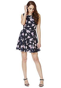 Mela London Rose Print Skater Dress - Navy