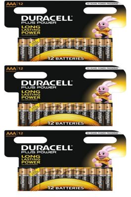 36 x AAA Duracell Plus Power 1.5V Alkaline Batteries
