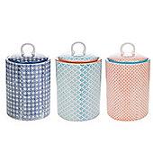 Nicola Spring Porcelain Biscuit Cookie Barrel Jars - Blue Floral / Blue / Orange - Set of 3