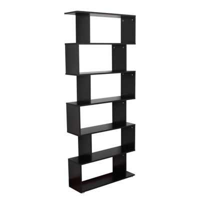 HOMCOM Wooden Wood Storage 6 Shelves Unit Cabinet Office Furniture (Black)