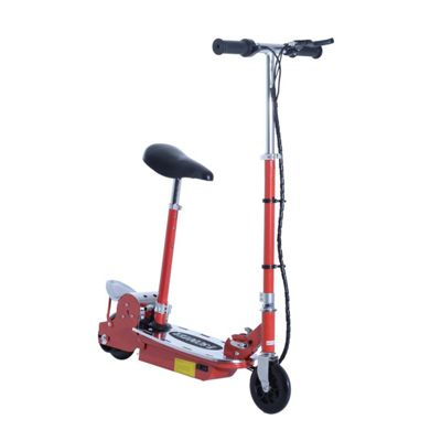 Homcom 120W Foldable E-Scooter Kids 24V Rechargeable Battery Adjustable Ride On (Red)