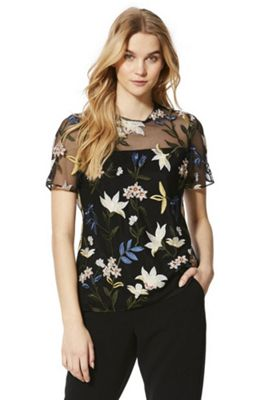 F&F Floral Embroidered Top Black Multi 12