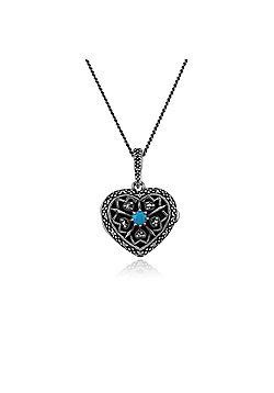Gemondo Necklace, Sterling Silver Turquoise & Marcasite December Birthstone Heart Locket Necklace