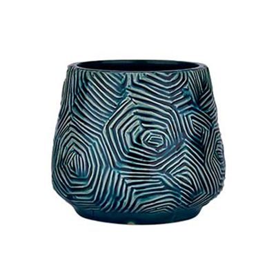 Bahne Pot Patterned Design in Petrol Blue