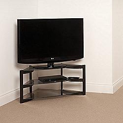 Techlink Skala Corner Tv Stand Satin Black And Smoked Glass
