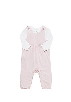 F&F Padded Dungarees and Long Sleeve Pointelle Bodysuit Set - Pink & White