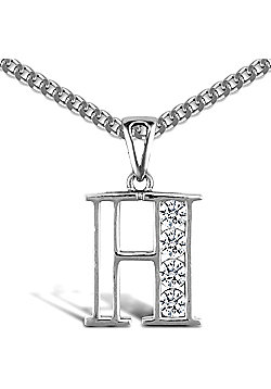 Sterling Silver Cubic Zirconia Identity Pendant - Initial H - 18inch Chain