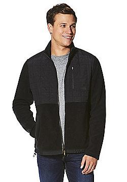 F&F Quilted Panel Fleece Jacket - Black