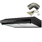 SIA STV60BL 60cm Visor Black Cooker Hood Kitchen Extractor Fan + 3m Ducting